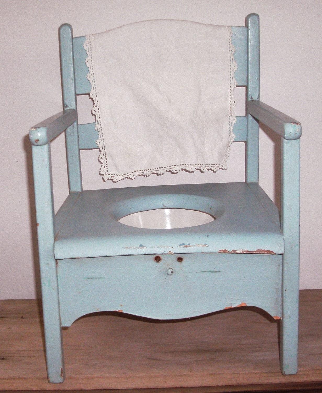 Little Vintage Potty Chair Shabby Blue Paint