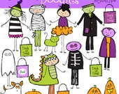 INSTANT DOWNLOAD Trick Or Treat Kids Digital Clip art