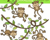 COMBO Monkey business digital clipart and black line stamps