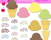 INSTANT DOWNLOAD Build your own ice cream cones digital clip art