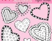 KPM Heart Attack digital  black line stamps