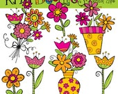 KPM Bright spring florals Digital Clip art