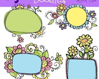 KPM Floral frames digital clipart
