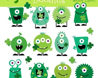 KPM  St Pattys Monsters digital clip art and blackline stamps CoMBO
