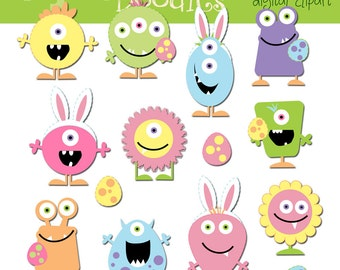KPM Easter Monsters digital clip art and blackline stamps COMBO