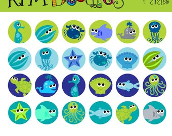 digital collage sheet seacreatures one inch circles