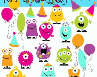 KPM Girly Birthday Monsters digital clipart