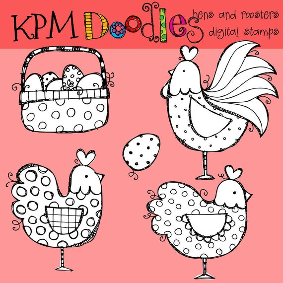 KPM Hens and roosters digital black line stamps