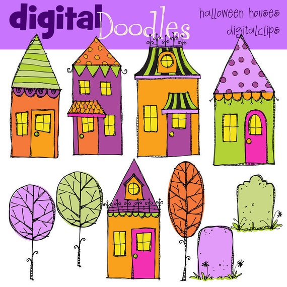 KPM Trick Or Treat Halloween Houses Digital Clip art scrapbooking