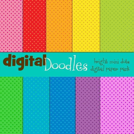 Mini Dots Brights Digital paper pack