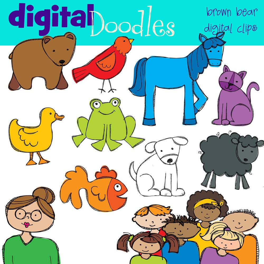 KPM Bear and Friends Digital clip art
