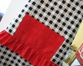 Apron Checkerboard with Cherries  fabric by Henry Glass and red trim by Moda