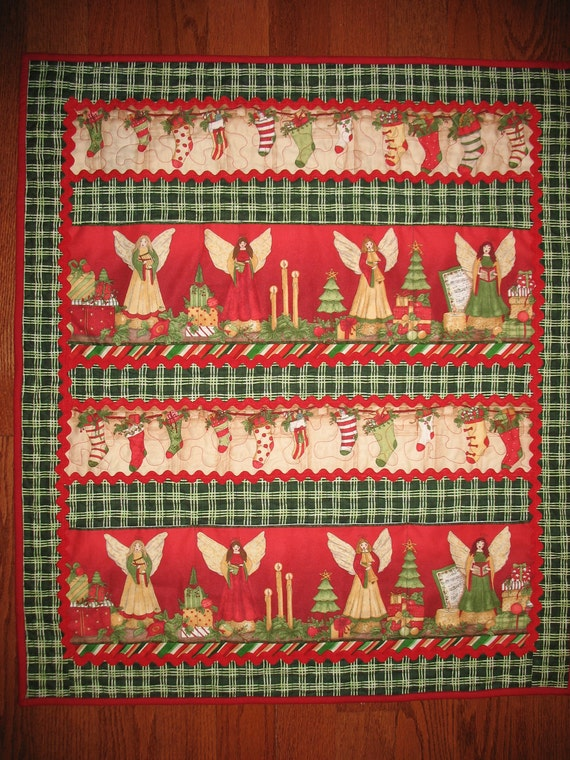 Christmas Card Holder with Angels Wall Hanging Quilted