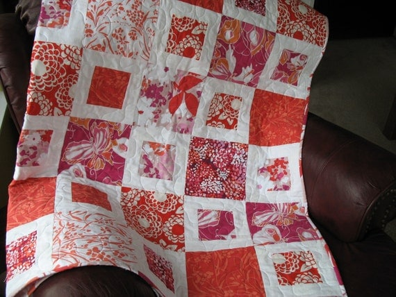 Lap Quilt in  Hot Pink, Pink, Deep Orange and Peach and White Fabric by Maywood