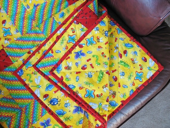 Toddler, Crib Quilt or Baby Quilt made with fun bug fabric