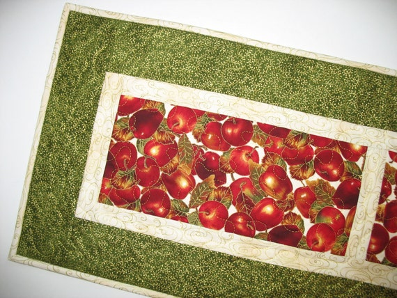 Autumn Apples on Quilted Table Runner with Gold Accents