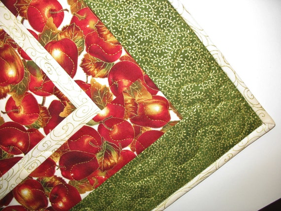 Autumn Apples on Quilted Table Topper with Gold Accents fabrics from Timeless Treasures and Hoffman
