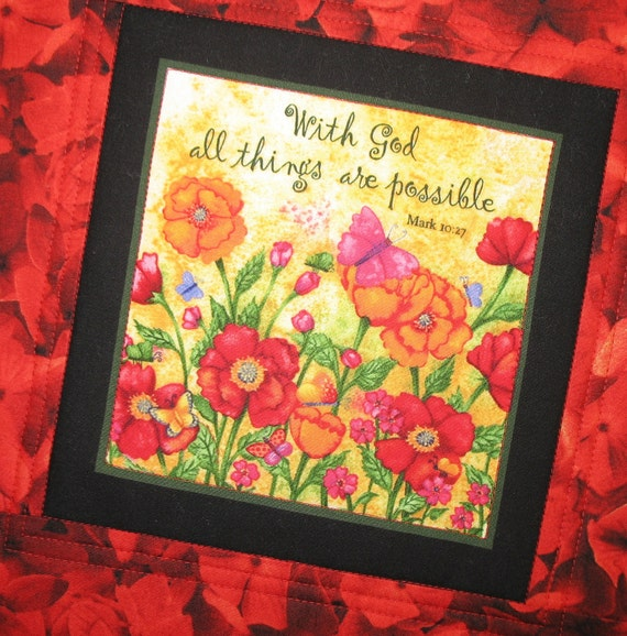 "Wall Art or Mug Rug Scripture ""With God all things are possible."""