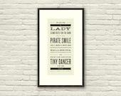 ELTON JOHN Inspired, Tiny Dancer Lyric Poster - 7 x 15 Typography Art Print, Modern Poster, Retro Home, Vintage, Rock Music