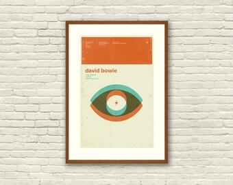 DAVID BOWIE Ziggy Stardust Inspired Art Print Concert Poster - 12 x 18 Minimalist, Graphic Design, Mid Century Modern, Retro Home
