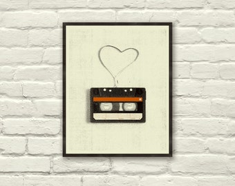 VINTAGE CASSETTE LOVE - 8 x 10 Art Print, Poster, Heart, Music, Nursery, Boutique, Hipster, Vintage Style, Retro Home