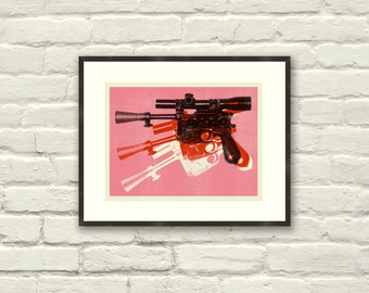 "BLASTER - Star Wars Inspired, Warhol, Gun, 11"" x 8.5"" Art Print, Poster, Pop, Modern Poster, Retro Home, Mid-Century, Boutique"
