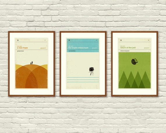 STAR WARS Inspired, Art Print Movie Poster Series - 12 x 18 Minimalist, Graphic, Mid Century Modern, Vintage Style, Retro Home