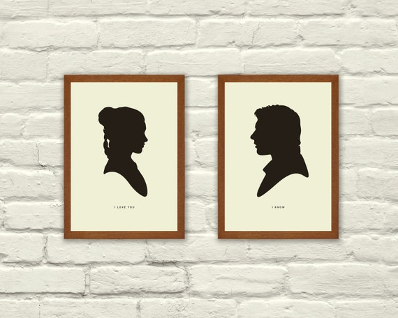 I LOVE YOU  /  I KNOW - Star Wars Inspired, Valentines Day, Princess Leia, Han Solo, Silhouette, 5 x 7 Art Prints, Modern Poster, Retro Home