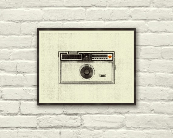 VINTAGE CAMERA LOVE - 8 x 10 Art Print, Poster, Heart, Music, Nursery, Boutique, Hipster, Vintage Style, Retro Home