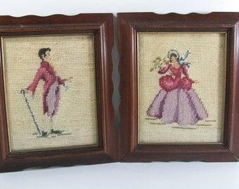 Victorian Framed Man & Woman Needlepoint Decor