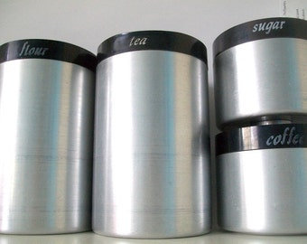 Retro Black & Silver Canisters