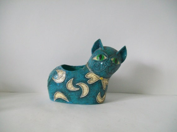 Vintage Handmade Mexican Kitty Planter