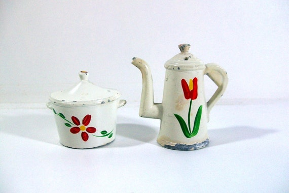 Miniature Salt & Pepper Shakers - Metal Hand-Painted