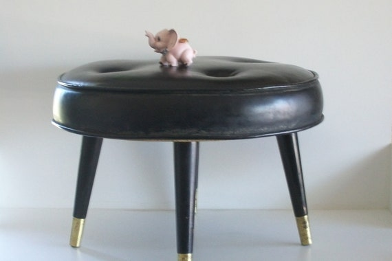 Black Round Mid-Century Foot-Stool