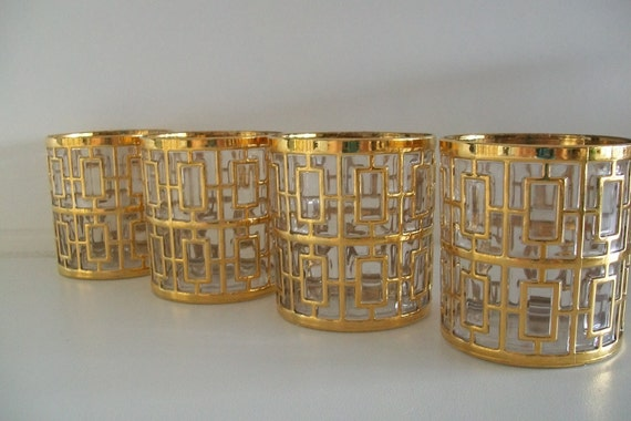 Four Mid-Century Gold Juice or Cocktail Glasses