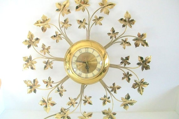 Large Vintage Wall Decor : Vintage gold clock large wall decor