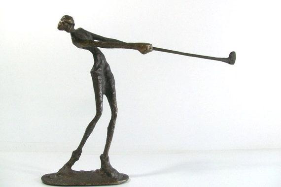Giacometti Style Mid-Century Female Golfer Bronze Sculpture