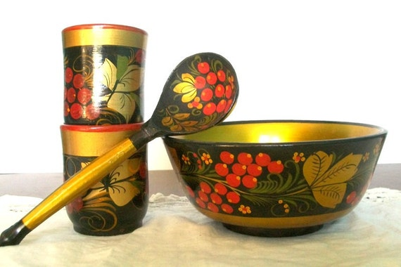 Russian Khokloma Bowl, Two Cups, & Spoon