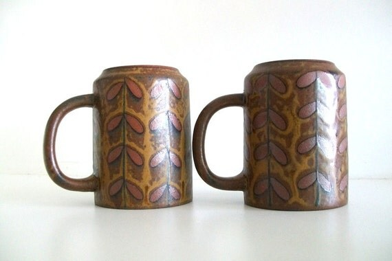 Two Japanese Style Pottery Brown Mugs
