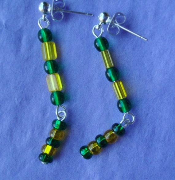 Green And Yellow Summer Earrings SALE