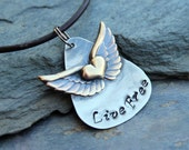 Silver Guitar Pick Pendant with pure brass Wings and heart