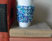 Hand Knit Blue, purple and white Coffee Cup Cozy