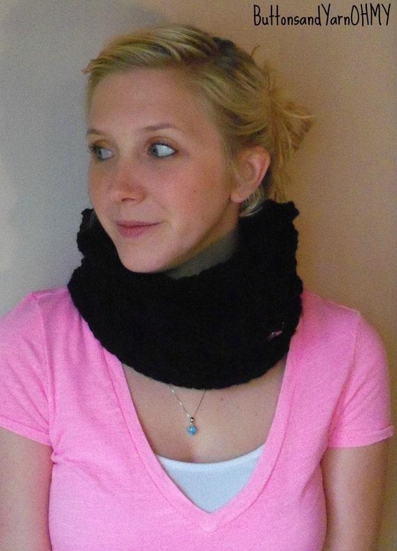 Black Knit Cowl, Chunky neck warmer