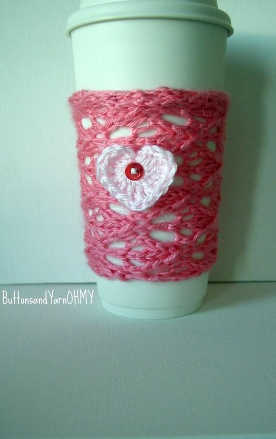 Pink Cup Cozy, Heart Travel Mug Sleeve