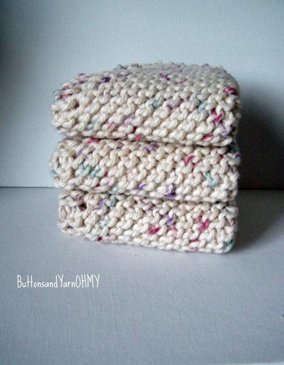 Knitted Dish Cloth, Cream Wash Cloths