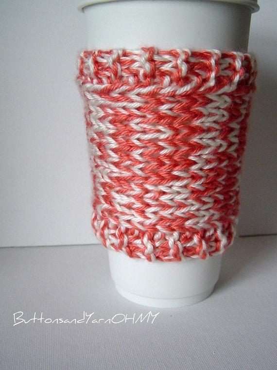 Reusable Travel Mug Sleeve, salmon and cream coffee cup cozy