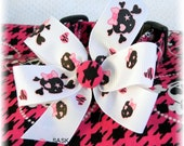 Dog Collar Pretty In Pink Pirate Houndstooth Hot Pink and Black w Ribbon Pirate Bow Adjustable Dogs Collars D Ring Choose Size Accessory pet