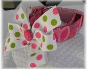 Dog Collar Pretty Pink Peace Signs w Flowers Floral  w Polkadot Ribbon Bow Accessory CHOOSE SIZE Adjustable Dog Collars with D Ring Pet Pets