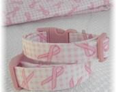 Dog Collar Breast Cancer Awareness Pink Ribbon  Pink White Checks Adjustable  Collars w D Ring Choose Size Pet Pets Susan G Komen Accessory