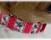 Dog Collar Candy Cane Stripes Red Panels White Dots Adjustable Dog Collar D Ring  Choose Size Christmas Holiday Season Winter Accessory Pets
